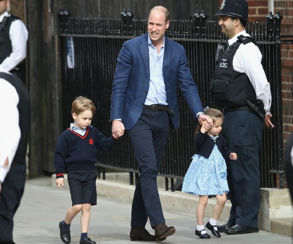 Prince William absolutely beamed as made the quick appearance with two of his three kids.