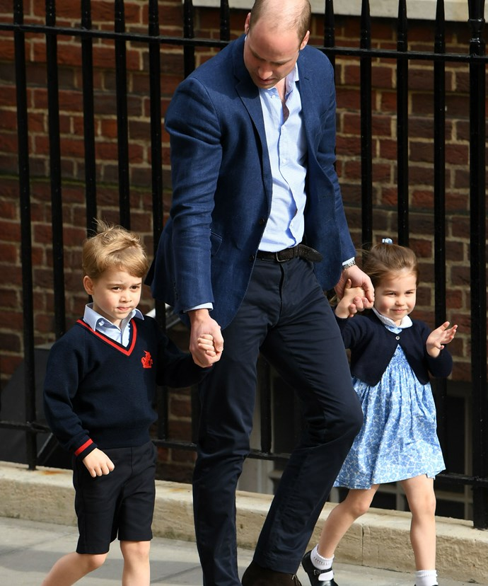 There they are! George and Charlotte arrive with their proud dad to meet their new little brother and check-in on their mummy.