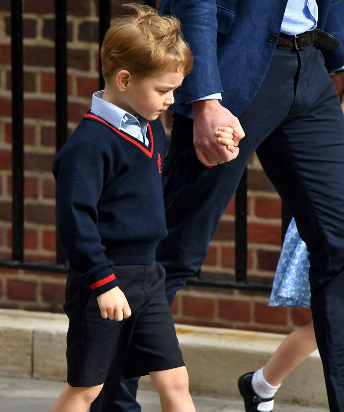 George, on the other hand, appeared overwhelmed by the attention surrounding his family. The four-year-old was business as he scampered in to the hospital to meet his new baby brother.