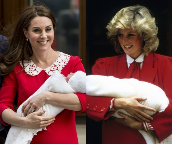 Kate's post-birth look was incredibly reminiscent of the ensemble worn by Princess Diana after the birth of Prince Harry.