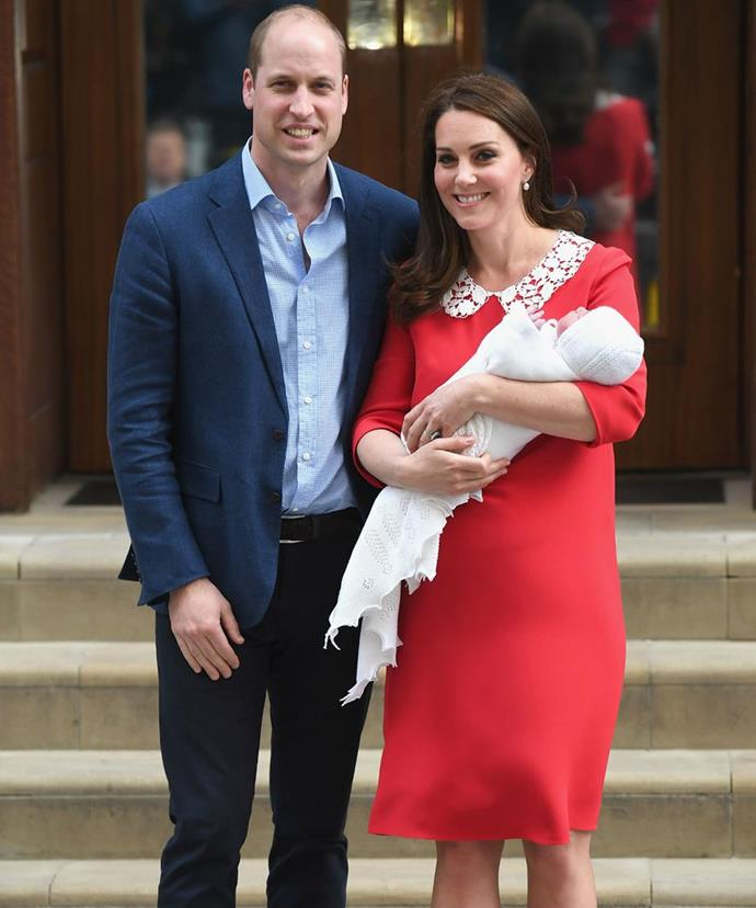 Hours after giving birth, Duchess Catherine awaited for photographs on the steps of the Lindo Wing in London's Paddington - and her chestnut locks looked more luscious than ever.
