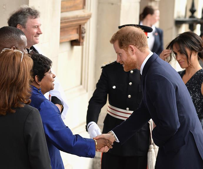 Prince Harry and Meghan Markle are greeted by Doreen Lawrence as they attend a service to celebrate the life and legacy of her son Stephen Lawrence.