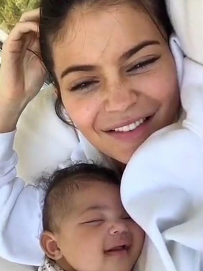 Kylie is reveling the quality mother-daughter moments with 11-week-old, as the pair smiled while the 20-year-old snapped sweet fresh-faced pictures.
