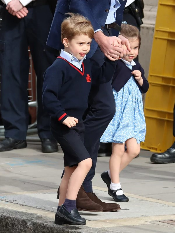 Prince George came straight from school.