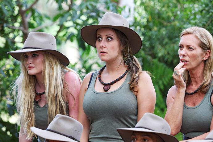 In the jungle with Simone Holtznagel and Kerry Armstrong.