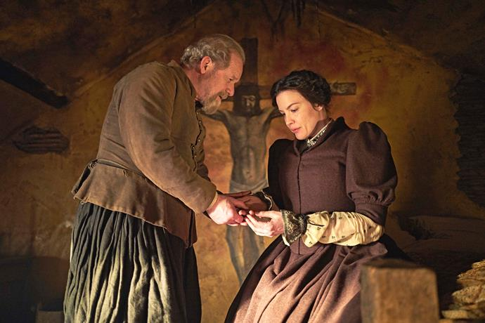 Anne keeps Father Henry Garnet (Pete Mullan) safe.
