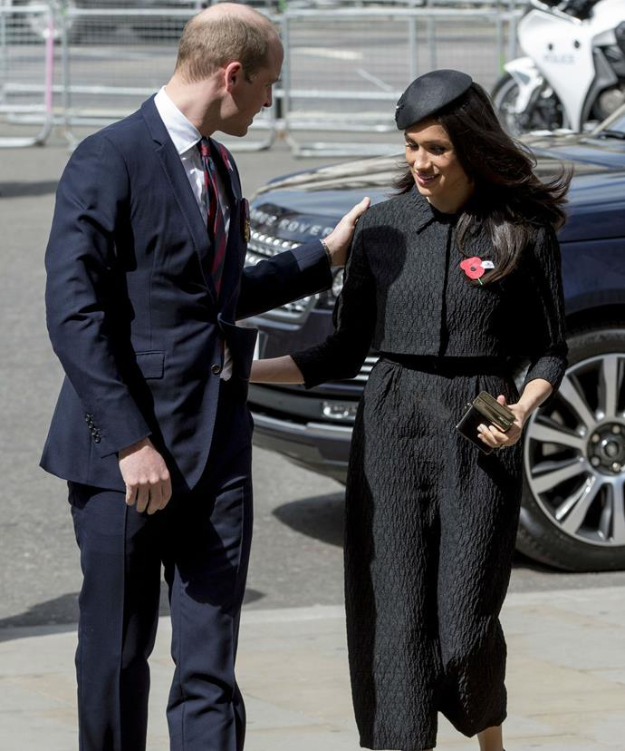 Prince William and Meghan Markle share a sweet moment at the Anzac Day Service of Commemoration and Thanksgiving at Westminster Abbey on Wednesday.