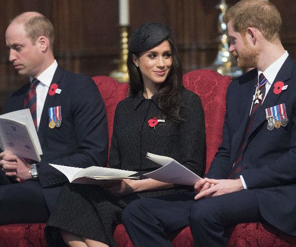 William, Meghan and Harry were seated alongside one another at the afternoon service.