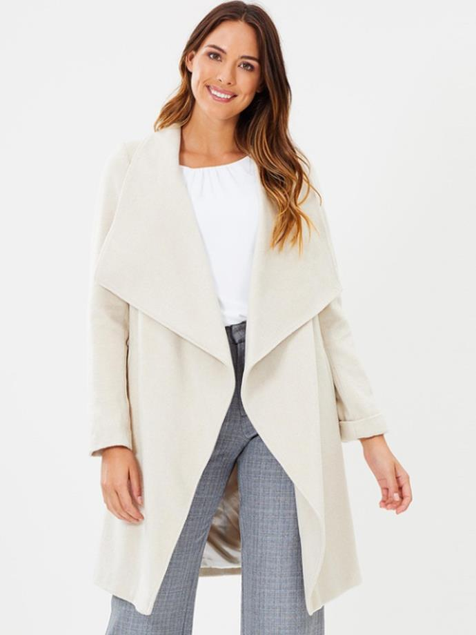 "Drawn Waterfall Coat in Stone, $129.95 by [Wallis](https://www.theiconic.com.au/drawn-waterfall-coat-609458.html|target=""_blank""