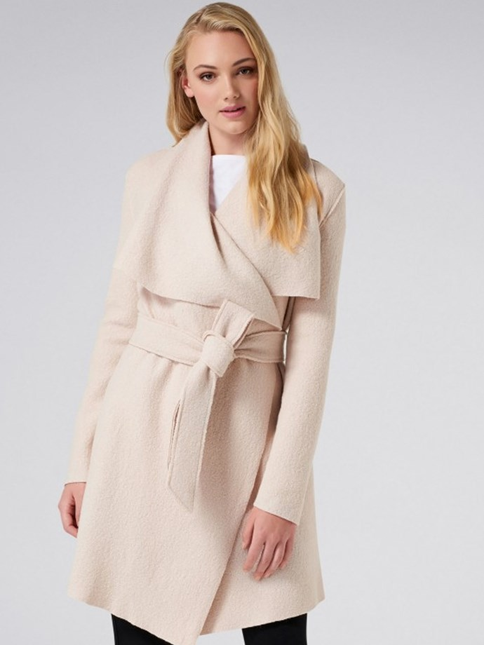 "Sally Boiled Wool Waterfall Coat in Warm Oatmeal, $159.99, [Forever New](https://www.forevernew.com.au/sally-boiled-wool-waterfall-25230801?gclid=CjwKCAjwzoDXBRBbEiwAGZRIeBYMgOsxwHj3stQl7jB9HngRGWHl3MqX6f-17ppts92uNndh3u_-shoCL5QQAvD_BwE&gclsrc=aw.ds|target=""_blank""