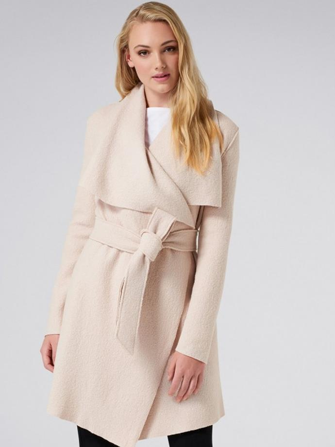 """Sally Boiled Wool Waterfall Coat in Warm Oatmeal, $159.99, [Forever New](https://www.forevernew.com.au/sally-boiled-wool-waterfall-25230801?gclid=CjwKCAjwzoDXBRBbEiwAGZRIeBYMgOsxwHj3stQl7jB9HngRGWHl3MqX6f-17ppts92uNndh3u_-shoCL5QQAvD_BwE&gclsrc=aw.ds