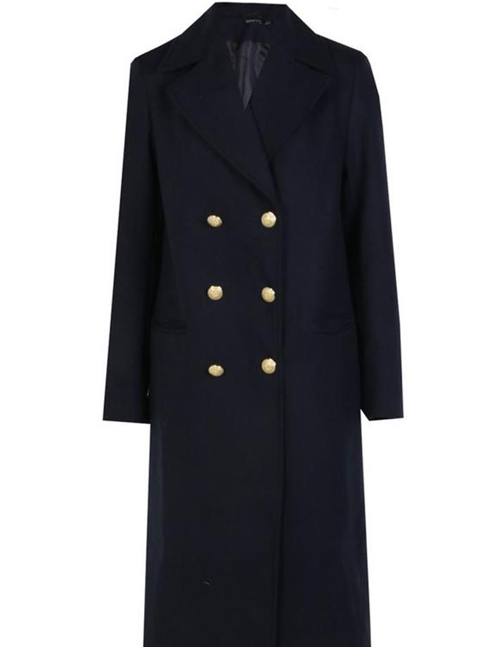 "Maisie Double Breasted Military Coat, $114, [Boohoo](http://au.boohoo.com/maisie-double-breasted-military-coat/DZZ49760.html?color=148|target=""_blank""