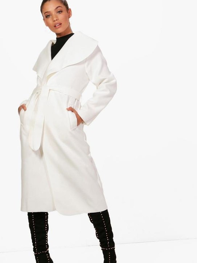"Kate Belted Shawl Collar Coat, $44, [Boohoo](http://au.boohoo.com/kate-belted-shawl-collar-coat/DZZ65279.html?color=123|target=""_blank""