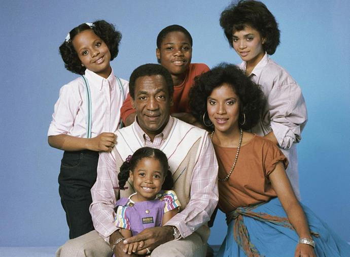 With the cast of the Cosby Show in the 1980s. PHOTO: Getty
