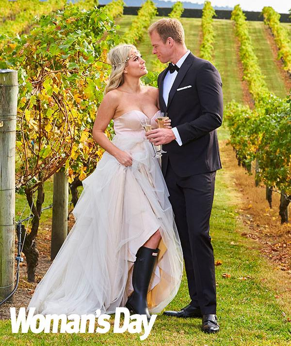 And the bride wore gumboots! The couple get in some practice ahead of their real-life wedding.