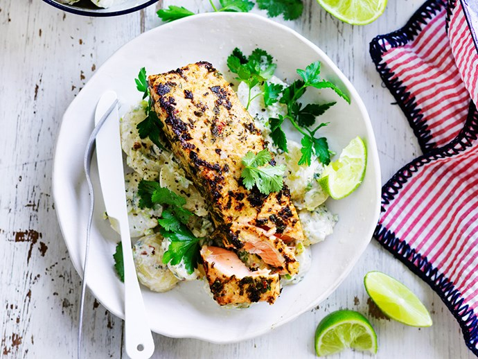 "**[Jerk salmon with yoghurt potatoes](http://www.foodtolove.com.au/recipes/jerk-salmon-with-yoghurt-potatoes-18553|target=""_blank""