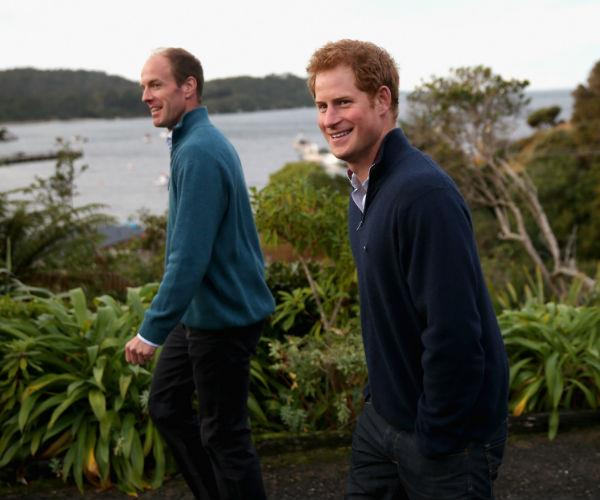 Prince Harry and Ed Lane Fox are pictured together on May 10, 2015 in Oban, New Zealand.