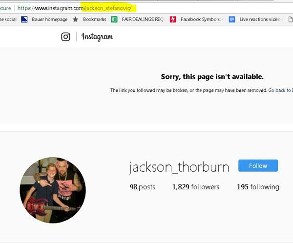 Screengrabs show Jackson's old handle @jackson_stefanovic is no longer in use, while @jackson_thorburn is active