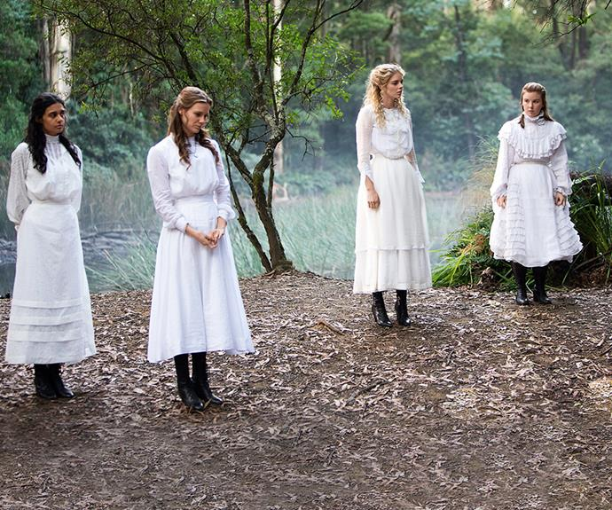 The four schoolgirls, Marion, Miranda, Irma and Edith, from the new miniseries. Photography: Foxtel/Sarah Enticknap