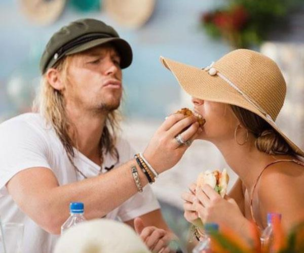 A real man knows when to feed his lady!
