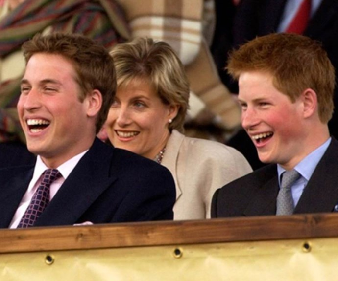 William and Harry cackle with laughter at an official event in 2002.