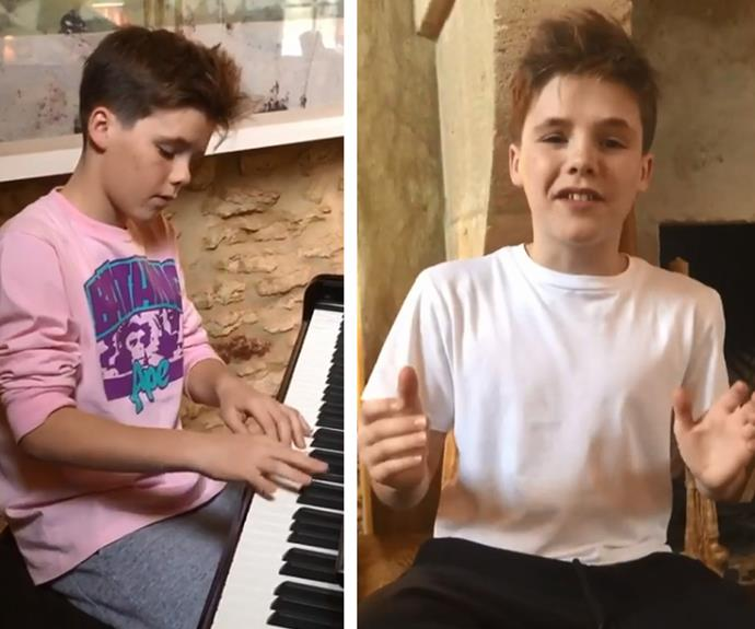 Cruz Beckham is following in his pop star mum's footsteps! The 13-year-old aspiring singer showed off his musical talent in two videos posted to Instagram. In the first clip filmed by his proud mum Victoria, the young Beckham sings a Justin Bieber-style track, and in the second posted to his own account Cruz shows he's mastered the keys as he impressively plays the piano.