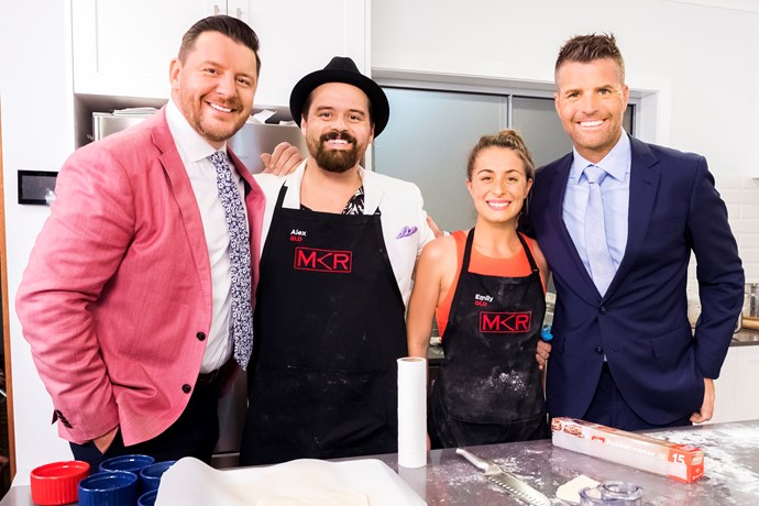 Alex and Emily with MKR judges Manu Feildel and Pete Evans.