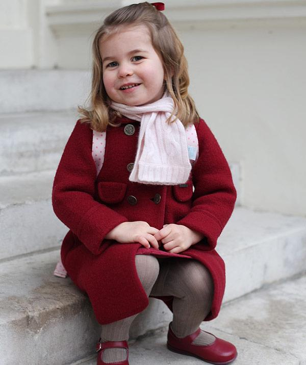 There were no tears for this tiny royal on her first day of pre-school in January at Willcocks Nursery School in London.