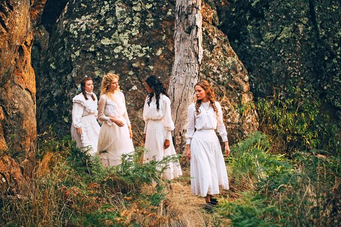 Samara Weaving, Madeleine Madden and Lily Sullivan in a scene from Picnic At Hanging Rock
