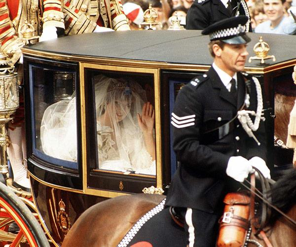 Princess Diana arrived in the Glass Coach due to the poor weather.