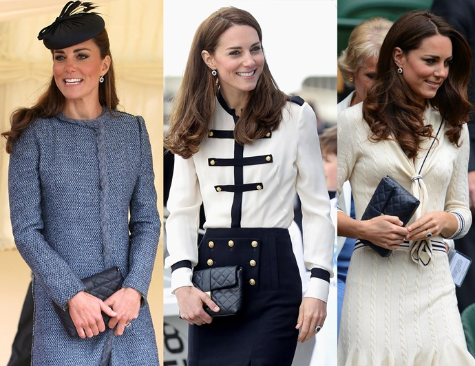 "***Make sure your bag matches everything***<br><br> She might not carry around a lot of stuff when she's out and about, but Kate usually has a handbag on her at all times. Be it a little clutch or a top-handle bag, purses help keep Kate's hands busy and tie her outfits together.<br><br> The Duchess has been spotted with this Jaeger quilted bag (named ""The Kate"" in her honour) several times, as it's a great size and complements her outfits, no matter what she's wearing. The gold-look clasp detail ties in well with the leather-look fabric, and the bag can be worn with or without the accompanying chain."