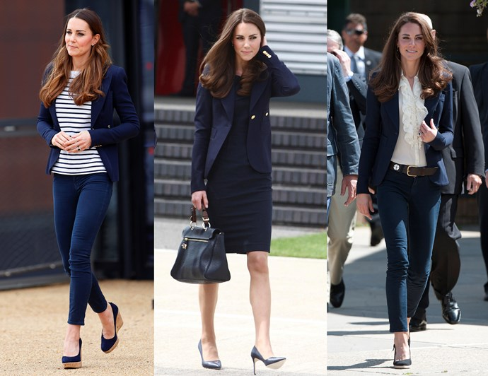 "***A good blazer goes with everything***<br><br> Even though we usually see her in dresses or coats, Kate loves separates. Whether it's a coordinating set, or jeans and a jacket, the Duchess knows the power of a cohesive outfit.<br><br> One of her favourite combinations is a pair of skinny jeans, a great top and her trusty blazer. This [Smythe blazer](https://www.saksfifthavenue.com/main/ProductDetail.jsp?PRODUCT%3C%3Eprd_id=845524447015501|target=""_blank""