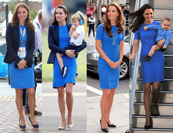 ***A well-fitted, bright dress can be worn a thousand ways*** <br><br> We all know Kate loves to re-wear her clothes. From coats to dresses to entire looks, the Duchess is the master of recycling something and making it look great every time. But you'll notice the things she re-wears are usually perfectly-fitted, bold and bright.<br><br> This Stella McCartney 'Ridley' dress is a definite favourite — she's worn it four times already! The knee-length and capped-sleeved fit of the dress is flattering and versatile, while the punchy cobalt colour is eye-catching. <br><br> Over the years, Kate has worn this dress with a blazer, styled with a long necklace and on its own with a pair sheer tights. The colour works well with her complexion and the fit isn't too figure-hugging that it would stretch or pull.