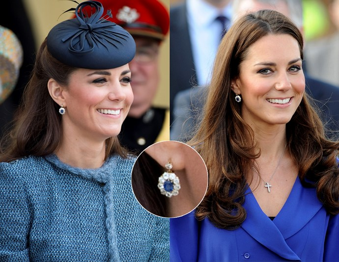 "***A stylish pair of statement earrings will go with everything***<br><br> Kate does indeed wear a lot of earrings when out on engagements, from flashy diamond pieces borrowed from the [Queen's vaults](https://www.harpersbazaar.com.au/celebrity/kate-middleton-royal-jewels-13761|target=""_blank""), to big gemstone pieces in pale pink and green. But she does have a few pairs of simple drop-style earrings that are show-y enough to stand out, but simple enough to be versatile.<br><br> These sapphire and diamond earrings were created to match her famous engagement ring, and Kate wears them constantly. The deep blue colour brings out her green eyes, and the size of them is the right balance between eye-catching and subtle."