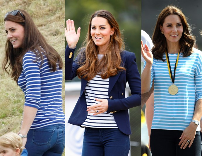 ***A long-sleeve striped top never goes out of style***<br><br> While we don't often get to see Kate in her casual attire, when we do, a striped tee is a regular sight. Kate has several different variations on the blue-and-white striped long sleeve t-shirt, from wool pullover options from M.I.H., to light blue Hugo Boss versions and classic navy ME+EMs.<br><br> We usually see Kate sporting hers with a pair of dark blue or black jeans and a simple loafer. This approach to weekend styling is relaxed, stylish and comfortable – perfect for a mum-of-three on the go.<br><br> When it comes to the fit, Kate always goes for a close-fitting shirt that accentuates her waist and arms, but isn't constricting. Although these shirts come in all sorts of colours, the Duchess loves the blue-and-white colour way, echoing the classic Breton style.