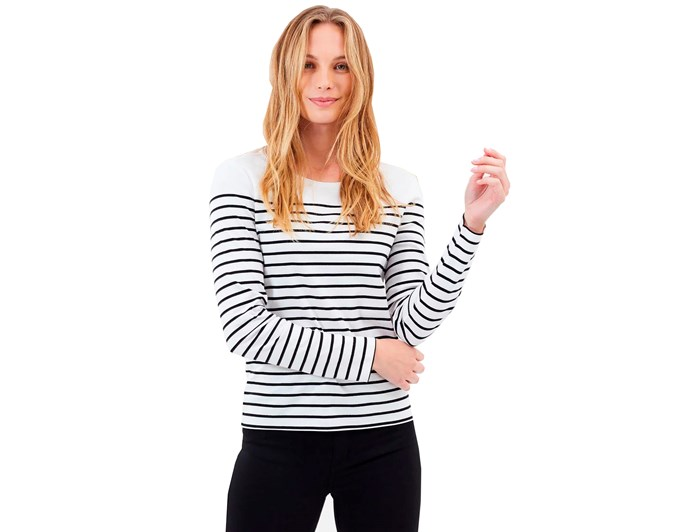 "***A long-sleeve striped top never goes out of style***<br><br> When picking your own, look for wool or cotton blend, which will ensure the shirt keeps its shape and lasts longer, and is breathable. Always look for a thin stripe, and always go horizontal — never vertical!<br><br> We like this one by [MARCS](https://www.theiconic.com.au/breton-stripe-tee-607803.html|target=""_blank""