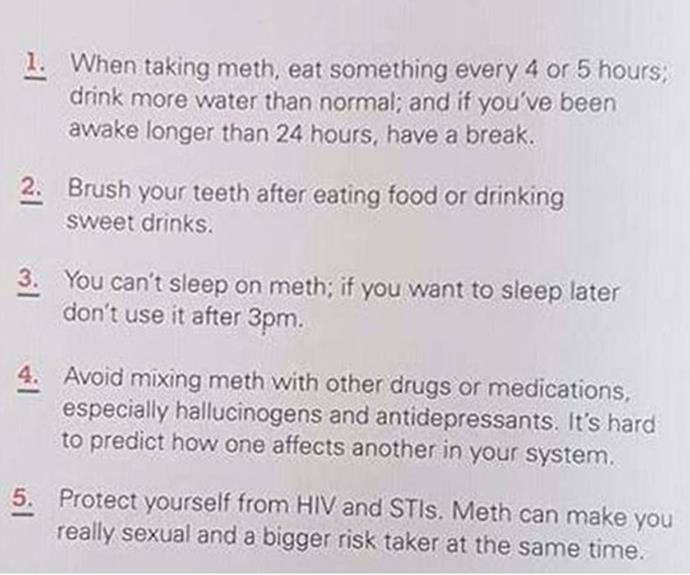 Morgan Julian was horrified when her daughter returned home from school with a 'step-by-step' guide to taking meth safely.