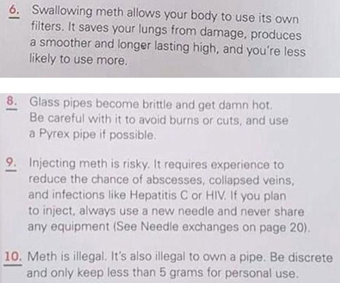 """""""It reads through, very clearly, on ways to do meth and how to hide meth."""""""