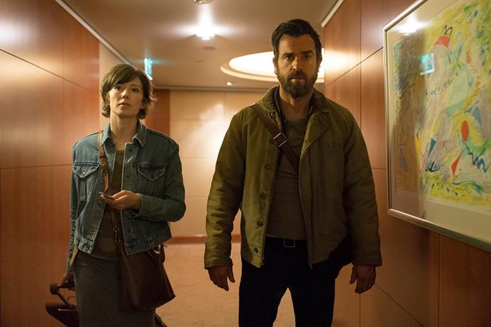 Carrie Coon and Justin Theroux in a scene from *The Leftovers.*