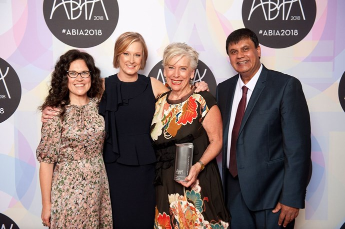 Maggie Beer and Professor Ralph Martin with 2018 ABIA Illustrated Book of Year award presenters Annabel Crabb and Leigh Sales.
