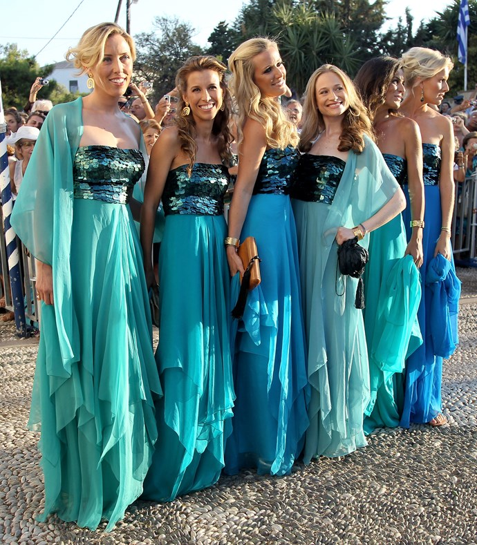 We're seeing double... no, triple... nope, sextuple! Six guests at Prince Nikolaos and Tatiana Blatnik's wedding in 2010 wore the same dress.