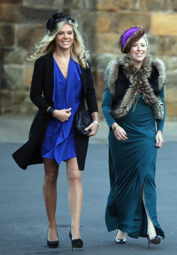 We love Chelsy Davy's outfit for Will and Kate's wedding, but we're undecided about her mate's fur vest.