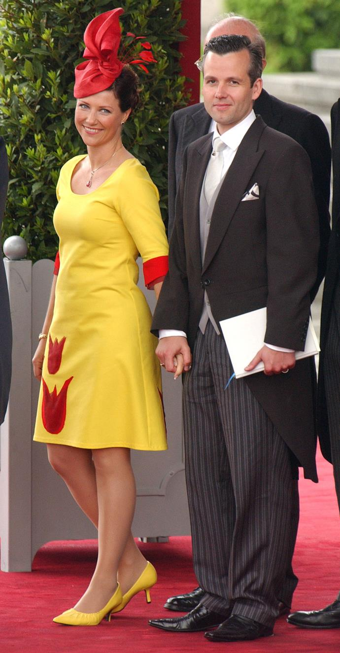 Is Princess Martha Louise Of Norway's yellow and red ensemble at Felipe Of Spain and Letizia Ortiz Rocasolano's wedding making anyone else crave McDonald's?