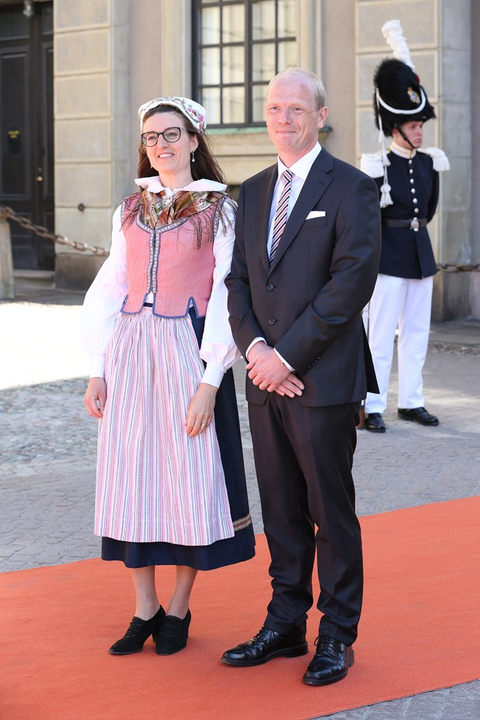 We know this guest's outfit at Prince Carl Philip and Sofia's wedding was probably the traditional Swedish costume, but the corset is throwing us!