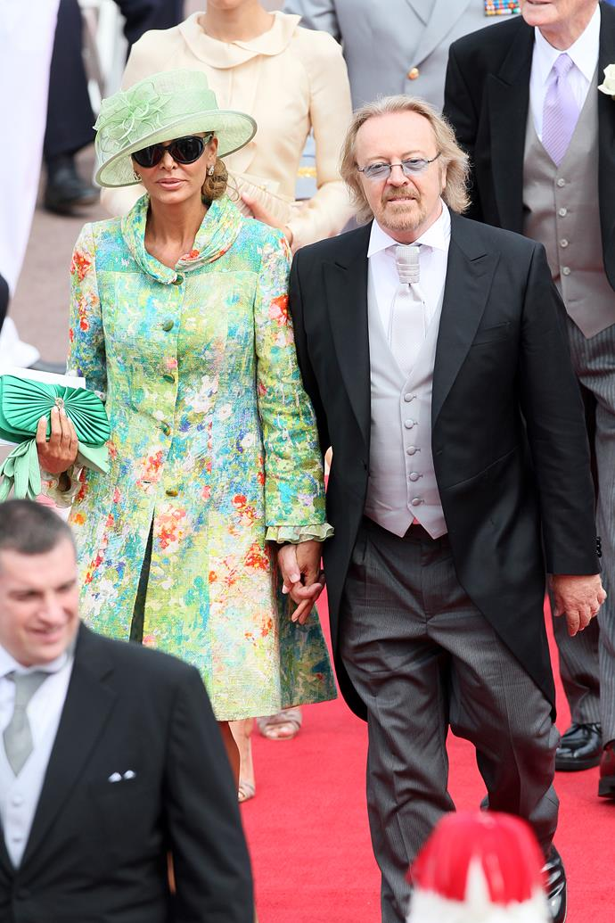 We don't mind the shape of Monica Michielotto's, wife of composer Umberto Tozzi, coatdress at Prince Albert and Princess Charlene of Monaco's wedding — but the dayglo green is a bit much.