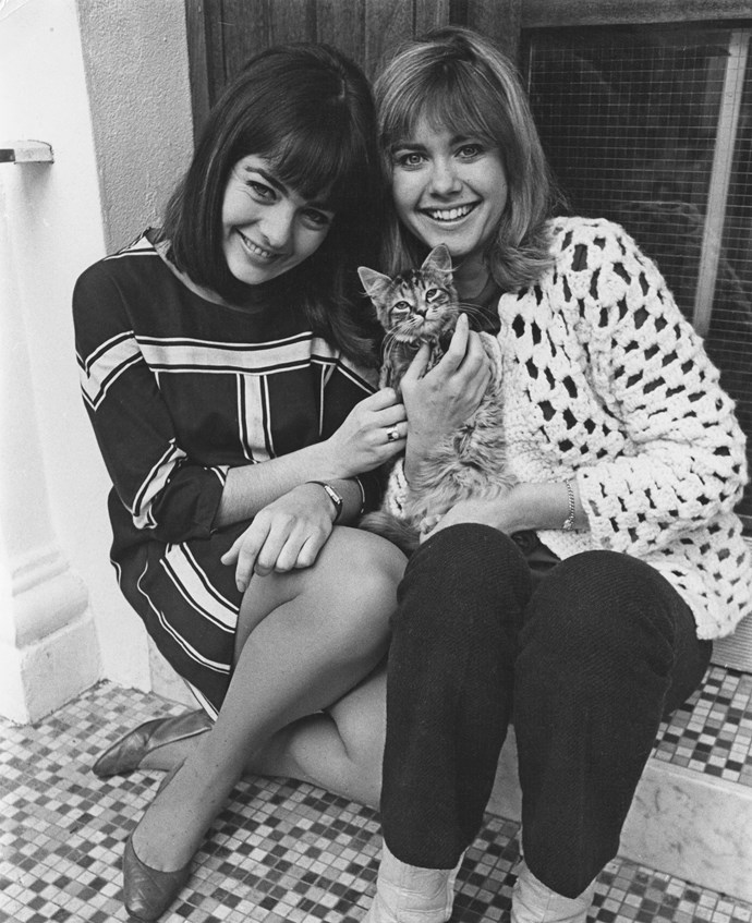 Singing duo and besties Pat and Olivia in 1967.