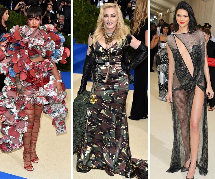 Rihanna, Madonna and Kendall Jenner step out in outrageous Met Gala outfits in 2017.