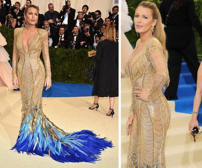 Blake Lively arriving at the 2017 Met Gala where the theme was Rei Kawakubo/Comme des Garçons.