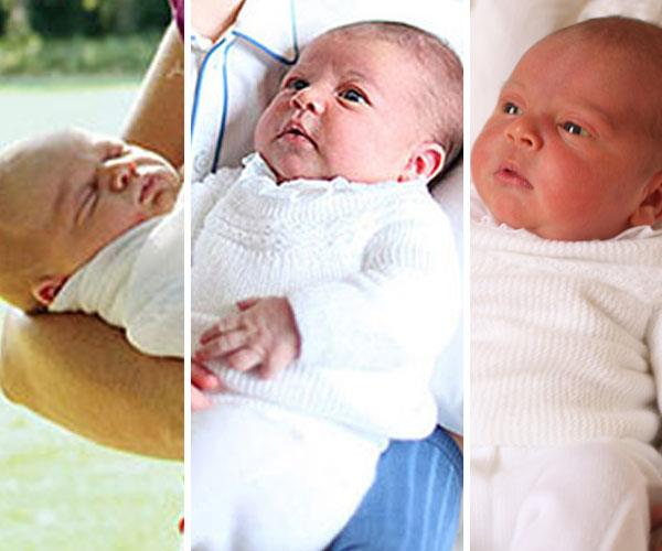 (L-R) Prince George, Princess Charlotte and Prince Louis as newborns.