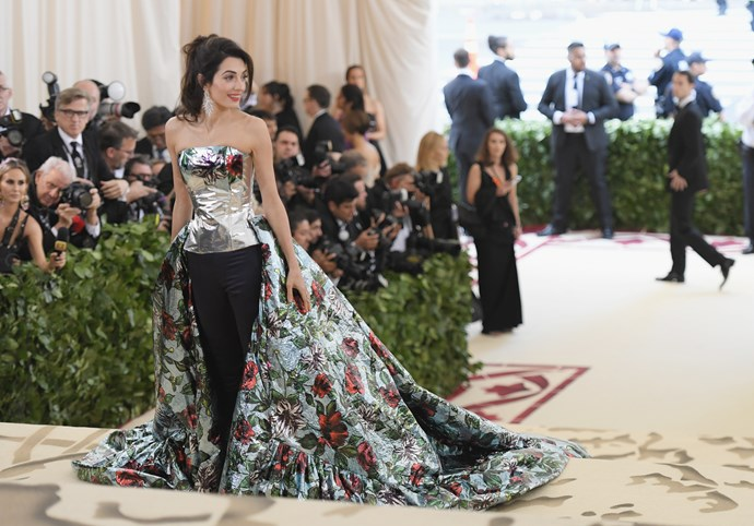 Met Gala Host Amal Clooney arrives to the Heavenly Bodies: Fashion & The Catholic Imagination Costume Institute Gala at The Metropolitan Museum of Art.